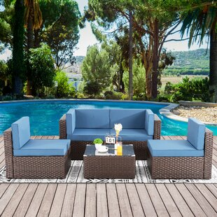 5Pcs Patio Outdoor Furniture Sets,Low Back All-Weather Rattan Sectional Sofa With Tea Table&Washable Couch Cushions(Brown Rattan)(Red) (Set of 5)