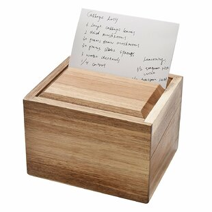 Welland LLC Acacia Wood Recipe Box with Card Divider