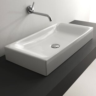 Comparison Cento Ceramic Ceramic Rectangular Vessel Bathroom Sink By WS Bath Collections