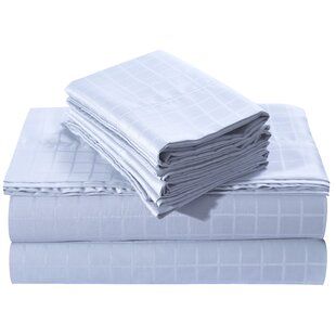 Tribeca Living Windowpane Dobby Deep Pocket 250 Thread Count 100% Cotton Sheet Set