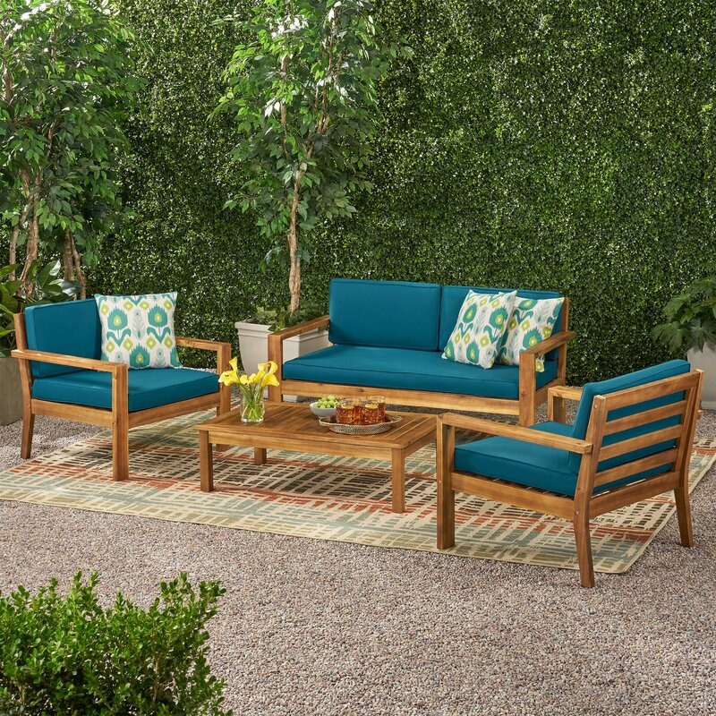 Nowthen Outdoor 4 Seater Acacia Wood Sofa Seating Group With Cushions by Foundry Select