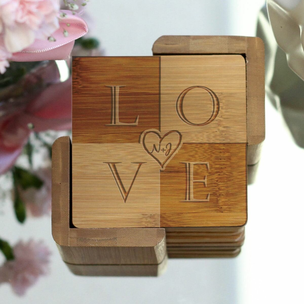 Le Prise Personalized Engraved Coaster Set With Holder Wayfair