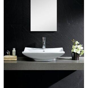 Order Modern Ceramic Rectangular Vessel Bathroom Sink with Overflow ByFine Fixtures