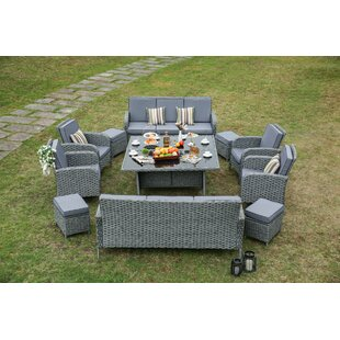 Gracie Oaks Hofstra 12 Piece Wicker Patio Dining Set with Cushions