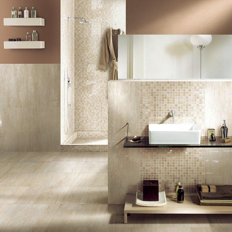 "Travertini 16.75"" x 16.75"" Porcelain Field Tile in Polished Beige"