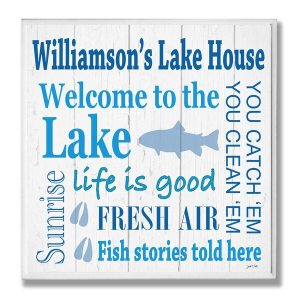 Personalized Lake House with Fish Square Textual Art Plaque