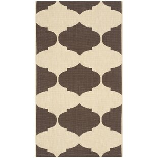 Short Beige/Chocolate Indoor/Outdoor Area Rug