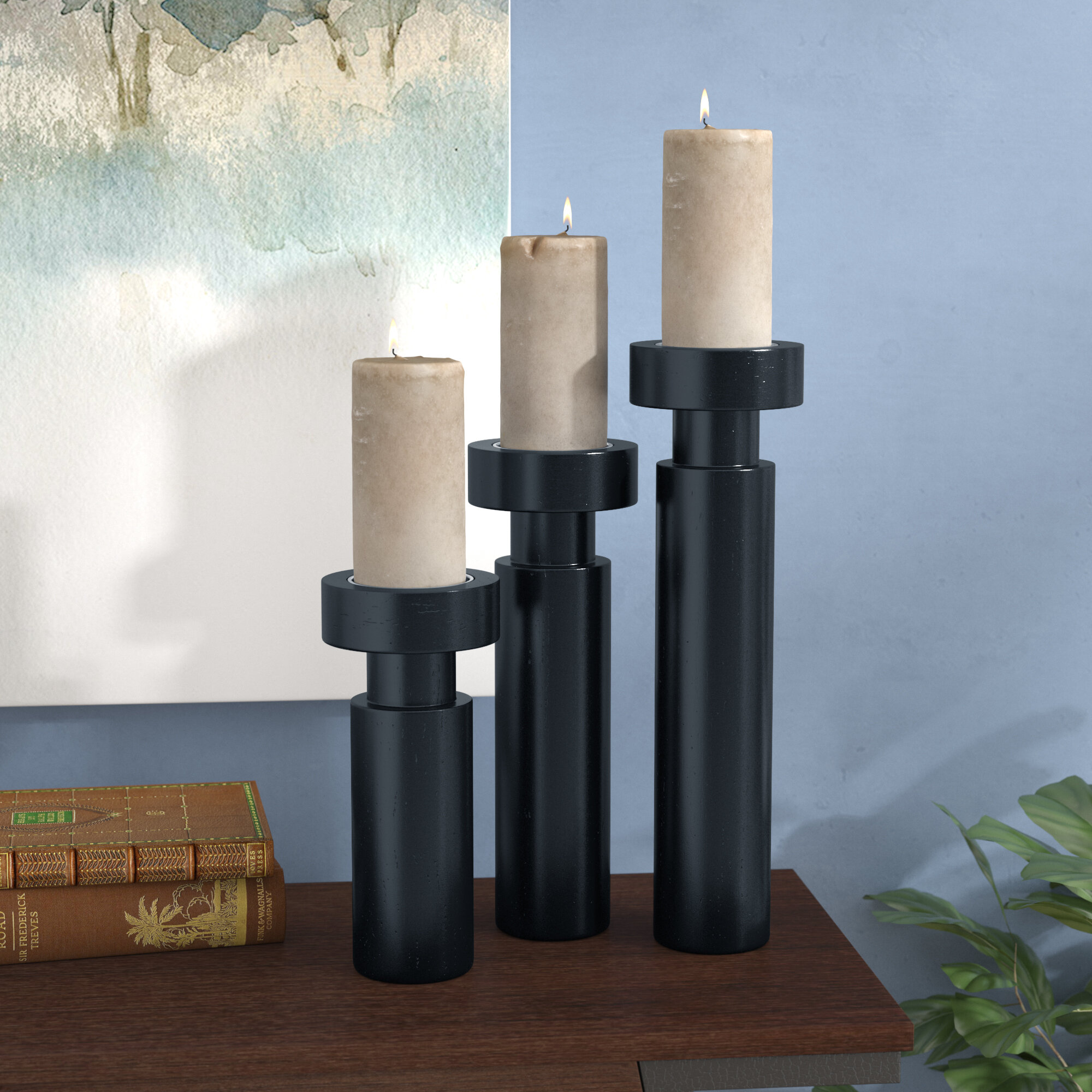 Wrought Studio 3 Piece Wood And Aluminum Candlestick Set Reviews Wayfair