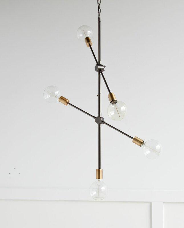 5-Light Sputnik Chandelier - Get the Look! Modern Rustic Interior Design in a Masculine Ski Chalet
