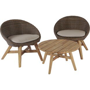 Austen 3 Piece Bistro Set With Cushions by Mistana Best Design
