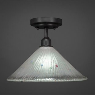 Kash 1-Light Glass Cone Shade Semi-Flush Mount by Williston Forge