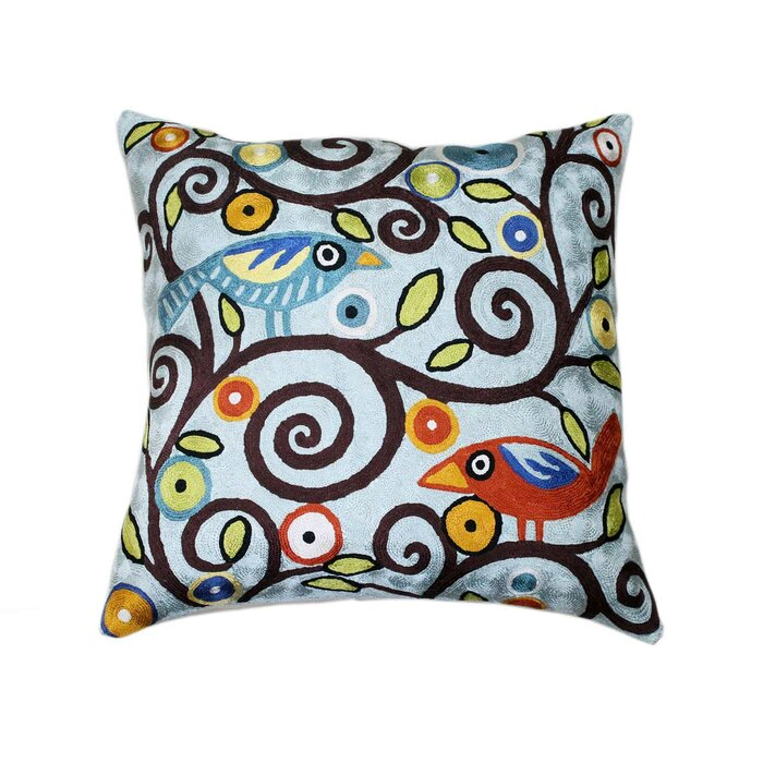 Taj Hotel Klimt Tree Of Life Birds Hand Embroidered Throw Pillow Cover