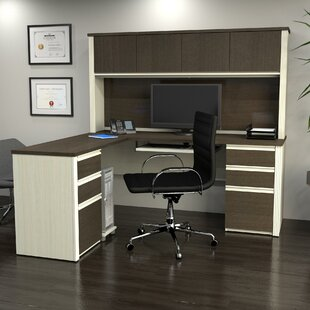 Affordable Price Bormann Workstation Executive Desk with Hutch By Red Barrel Studio