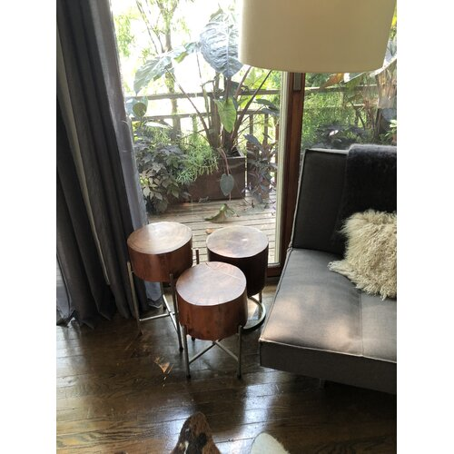 Wood Block End Table