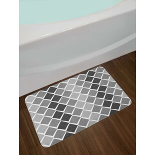 Uneven Geometrical Shapes with Zigzag Lines and Ombre Effect Bath Rug