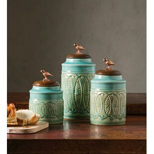 Canister with Songbird Lid Top 3 Piece Kitchen Canister Set by Bungalow Rose