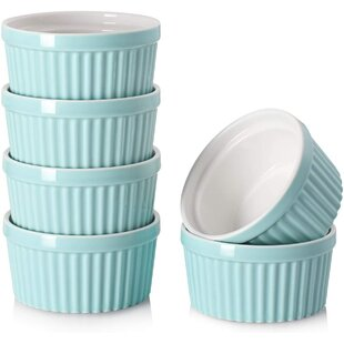 Pudding and Ice Cream Set of 6 White /& Blue DOWAN Ramekins 4 oz Oven Safe Souffle Ramekins for baking Creme Brulee Custard Small Dipping Bowls for Dessert Souffle Cups Dishes for Lava cake