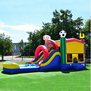 JumpOrange Sport Mega 5-in-1 Wet and Dry Water Slide Inflatable Bounce House