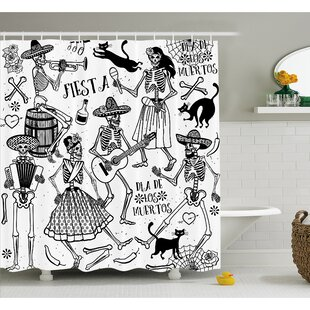Mexican Dead Dancers Themed Skeleton Icon Playing Music Design Shower Curtain Set