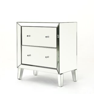 Rosdorf Park Safire Mirrored 2 Drawer Cabinet