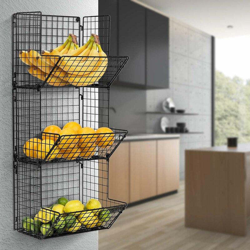 Williston Forge 3 Tier Fruit Stand Amp Wall Mount Kitchen