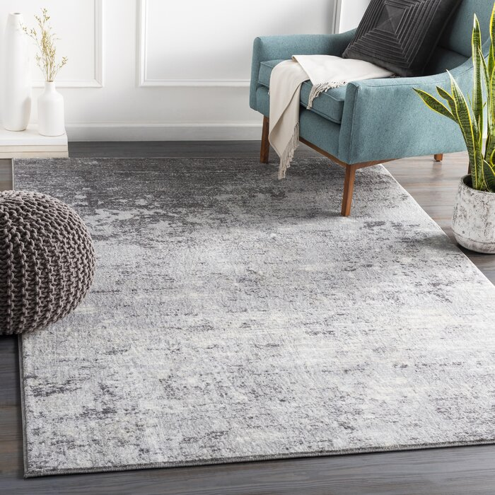 Rosson Abstract Silver Gray White Area Rug
