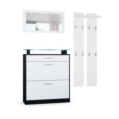 Garderobenset Loret mini Vladon Beleuchtung inklusive: Ja| Farbe: Schwarz (matt)/Weiß (matt) | Flur & Diele > Garderoben > Garderoben-Sets | Vladon