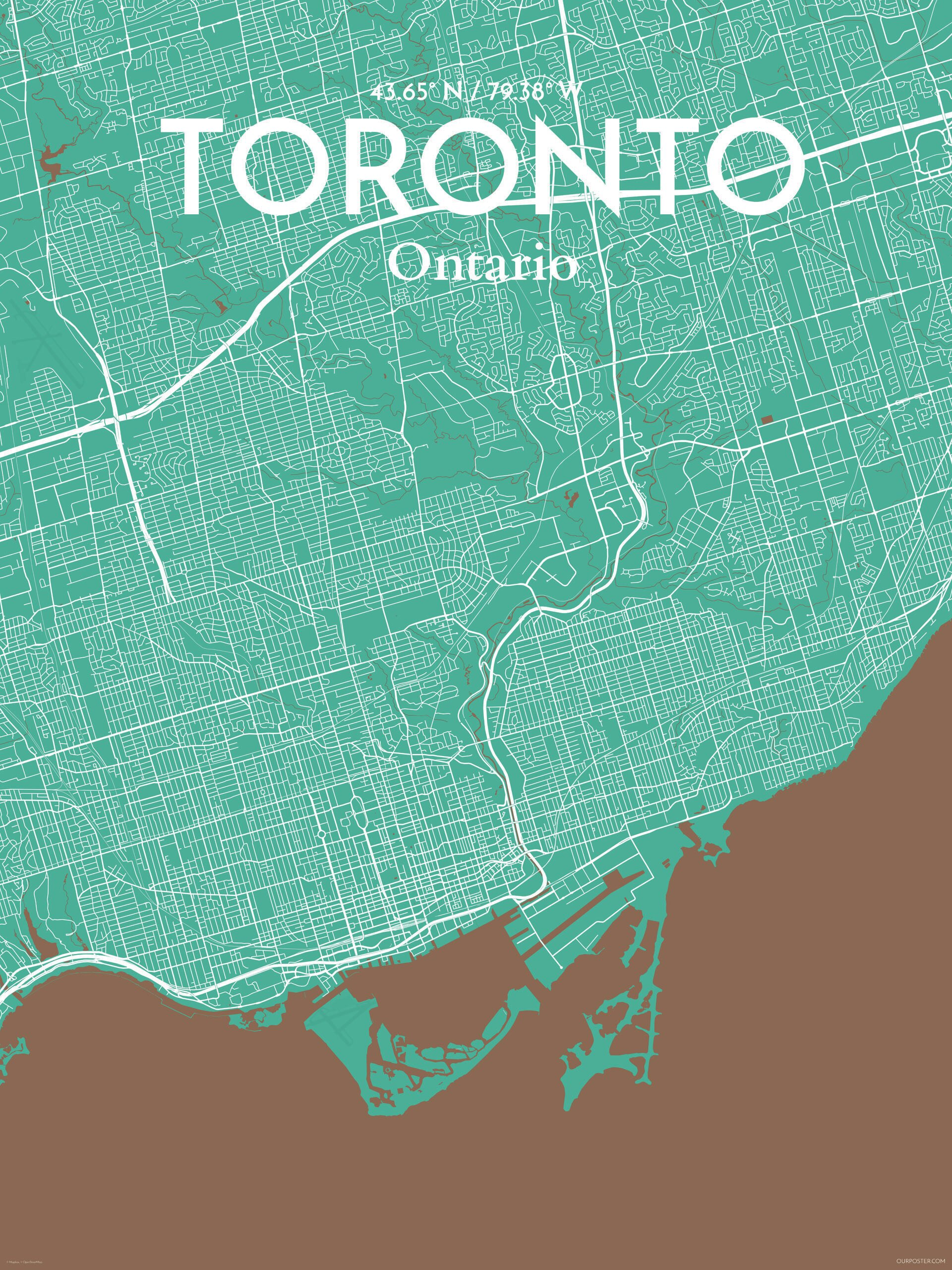Ourposter toronto city map graphic art print poster in nature ourposter toronto city map graphic art print poster in nature reviews wayfair gumiabroncs Choice Image