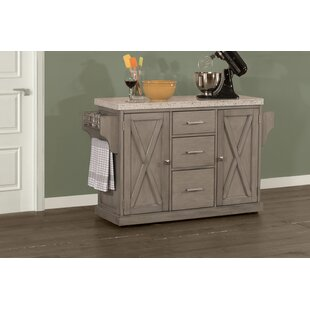 Jax Kitchen Island with Granite Top Gracie Oaks