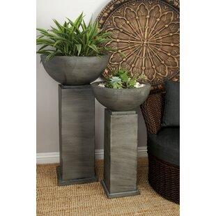 Cole & Grey 2-Piece Iron Pot Planter Set