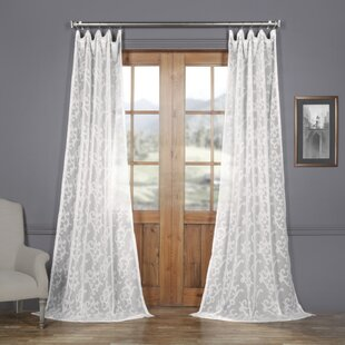 Jaydin Patterned Linen Sheer 100% Polyester Single Curtain Panel by Ophelia & Co.