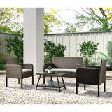 Outdoor 4 Piece Rattan Sofa Seating Group with Cushions by Latitude Run®