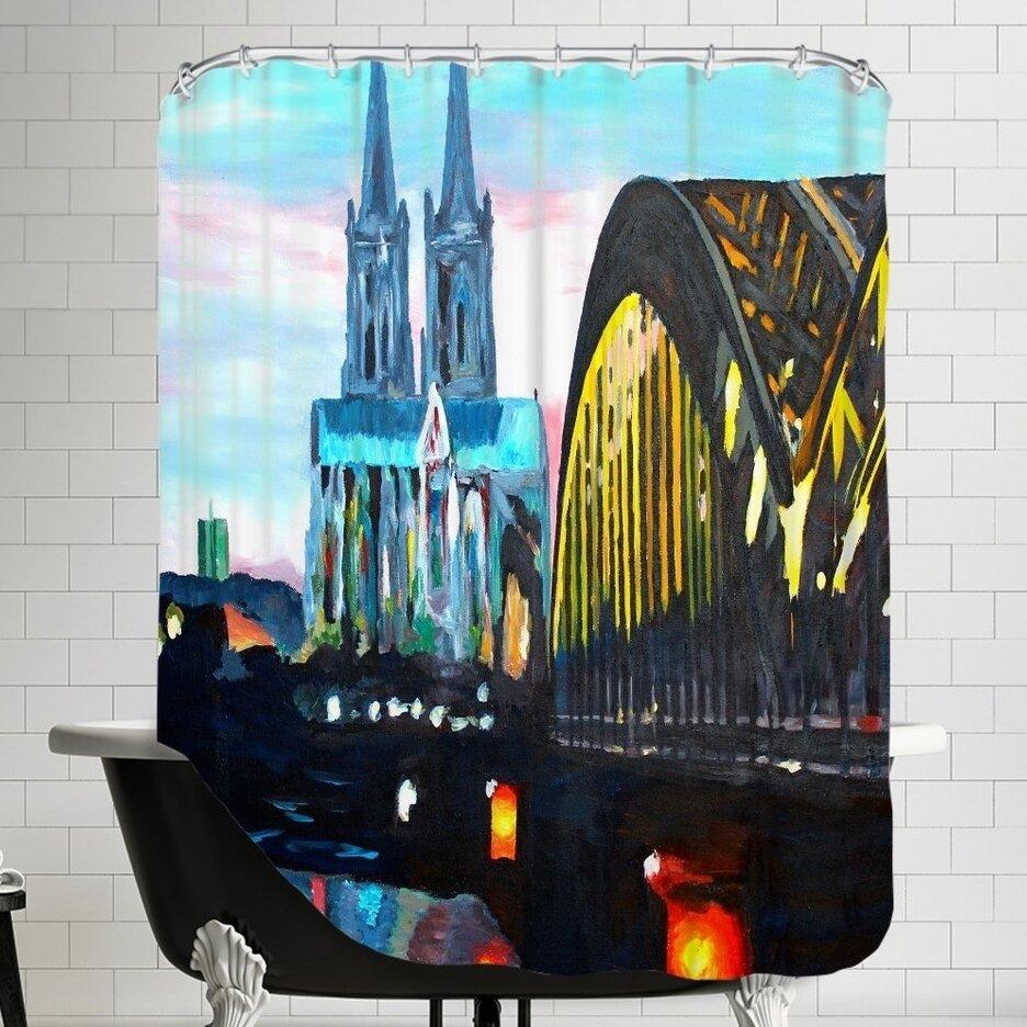Brayden Studio Markus Bleichner Rigney Cologne Kolner Dommit Hohenzollernbrucke Single Shower Curtain Wayfair