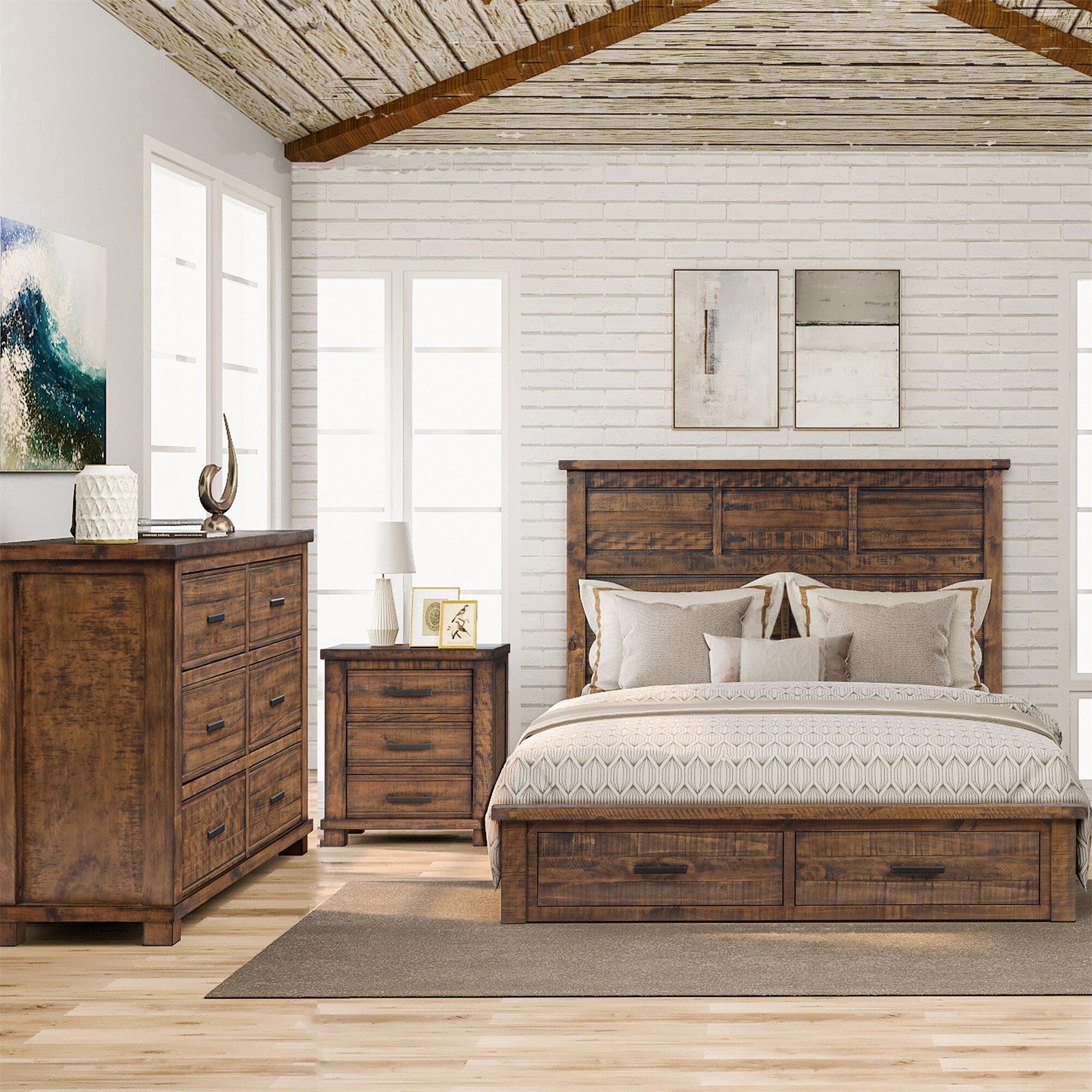 Millwood Pines Bayle Queen Solid Wood Platform 3piece Bedroom Set Wayfair