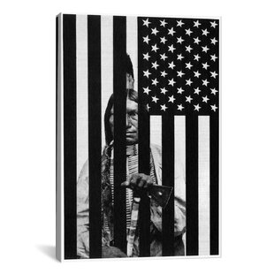 Delicieux Revange (American Flag With Native American )   American Dream Graphic Art  On Canvas