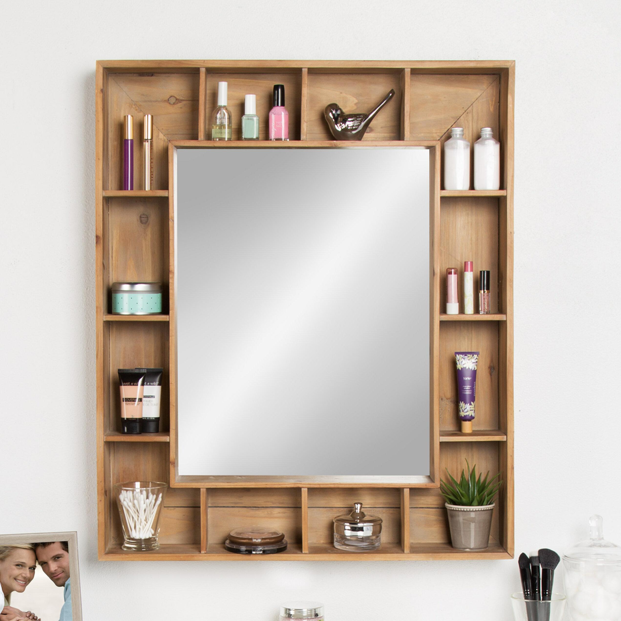 Loon Peak Gretel Rustic Wood Cubby Framed Wall Storage Accent Mirror ...