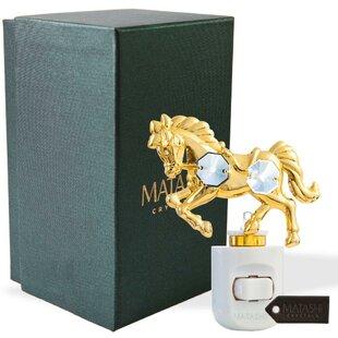 Matashi Crystal 24K Gold Plated Crystal Studded Horse Multi-Colored LED Night Light