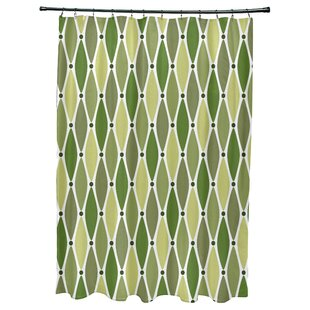 Highland Dunes Cedarville Wavy Geometric Print Shower Curtain with 12 Butt..