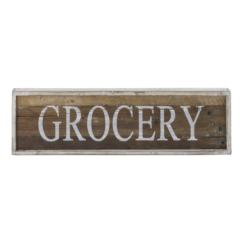Distressed Wooden Farmhouse Grocery Sign Wall Décor