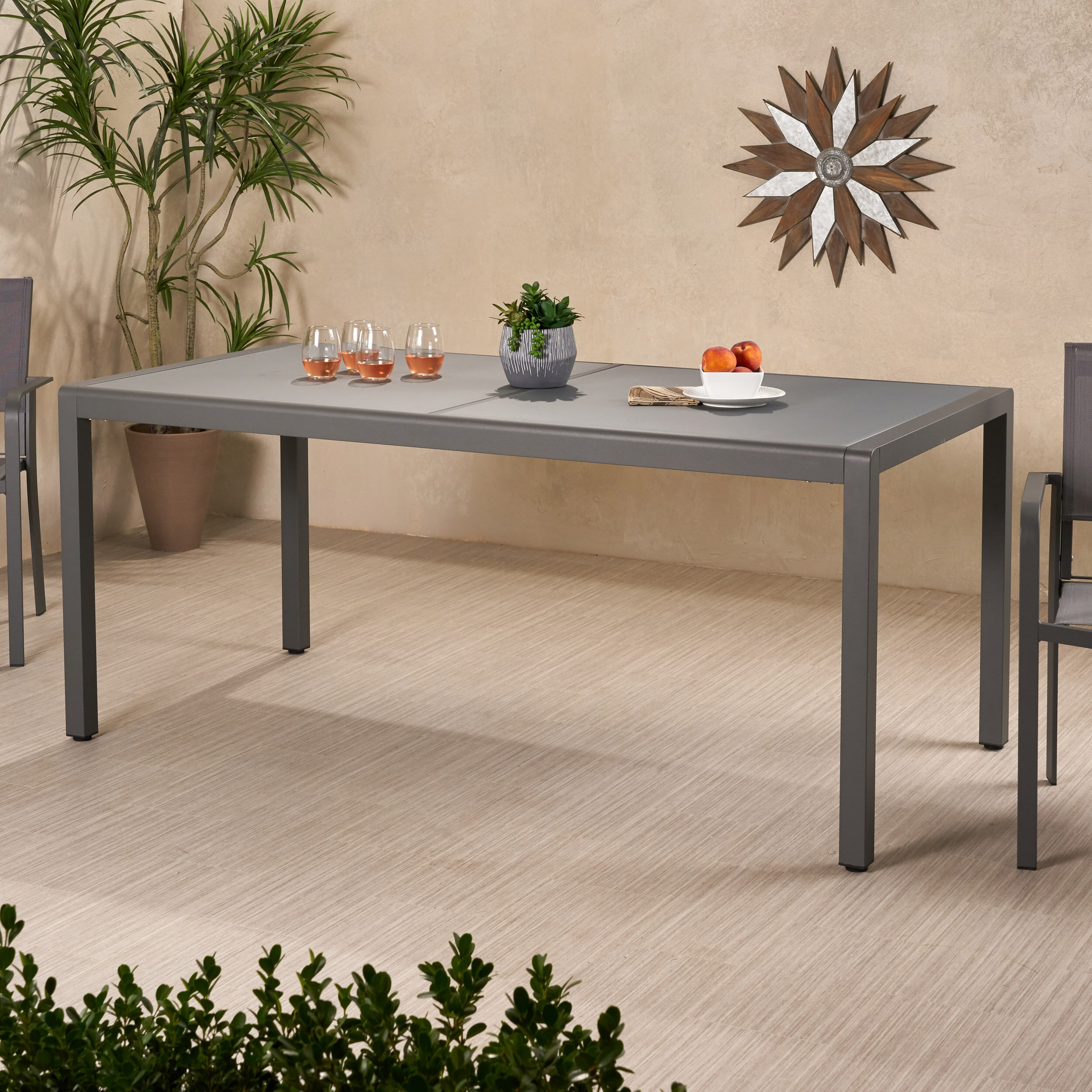 Brayden Studio Durbin Aluminum Grey Patio Dining Table Reviews Wayfair Ca