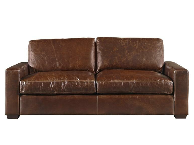 Delightful Dansville Two Seat Full Top Grain Leather Sofa