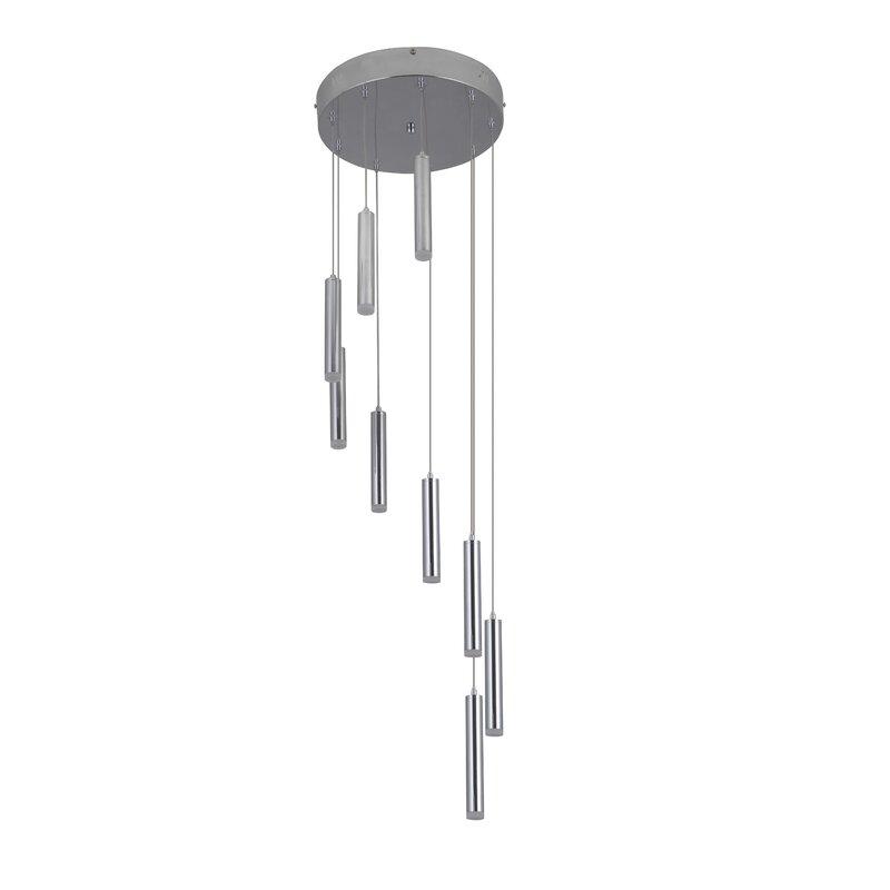 Orren Ellis Marnie 9 Light Led Cluster Cylinder Pendant Wayfair
