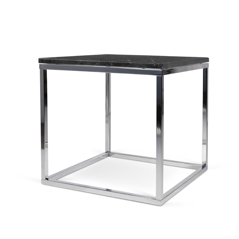 Ivy Bronx  Union Point End Table Table Base Color: Chrome, Table Top Color: Green
