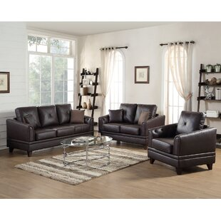 Fenner 3 Piece Leather Living Room Set by A&J Homes Studio