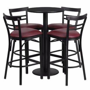 Alvarez Round Laminate 5 Piece Upholstered Pub Table Set by Red Barrel Studio