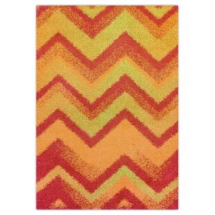 Happy Shag Handwoven Orange Rug by Theko