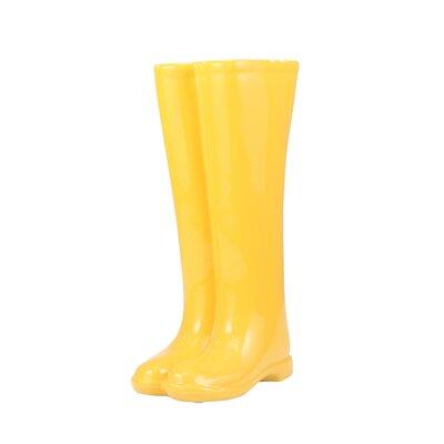 Sagebrook Home Ceramic Boots Umbrella Stand Colour: Yellow