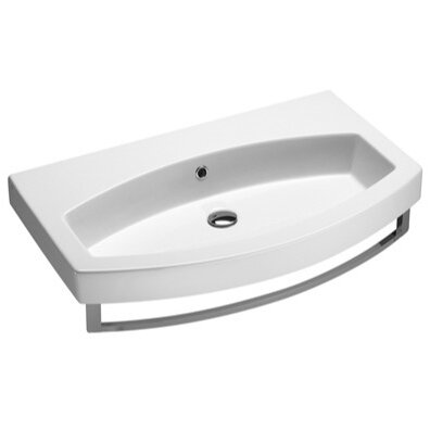Losagna Ceramic U-Shaped Drop-In Bathroom Sink with Overflow