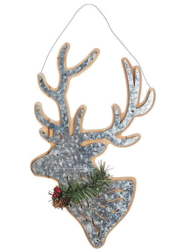 Lodge Chic Holly Trimmed Reindeer Silhouette Wall DÈcor