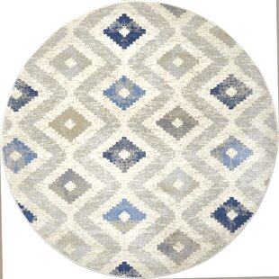 Hamm Ivory/Blue Area Rug by Wrought Studio